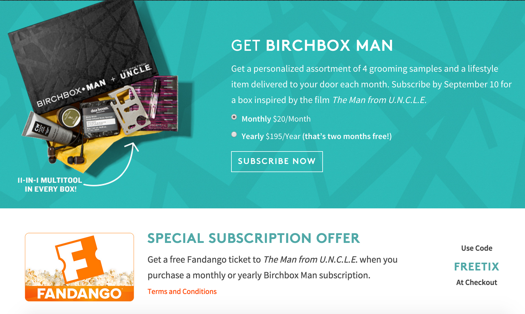 Birchbox Man Free Movie Ticket!