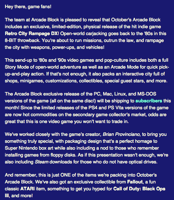 Arcade Block October 2015 Spoilers + Coupon - Spoiler Text