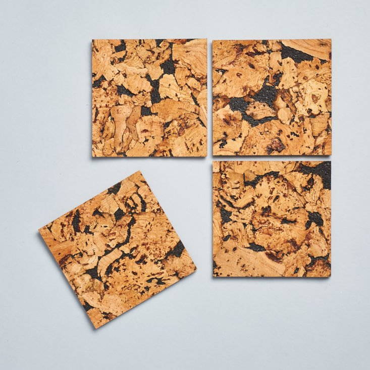 4 coasters made of cork