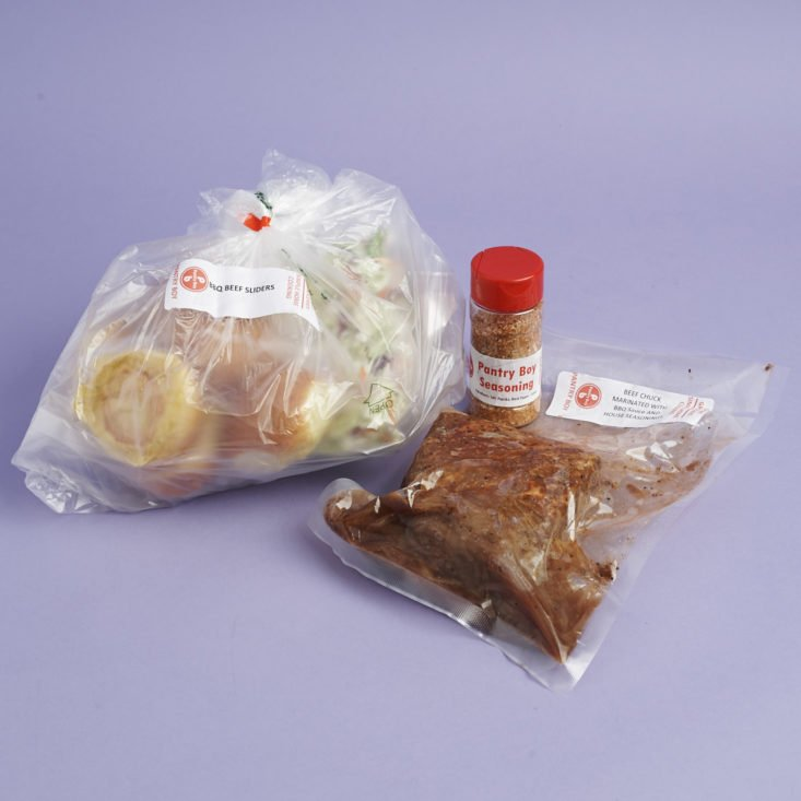 Ingredeints for Pulled BBQ Beef Sliders with coleslaw