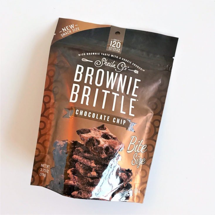 Sheila G's Brownie Brittle in Chocolate Chip bag closed