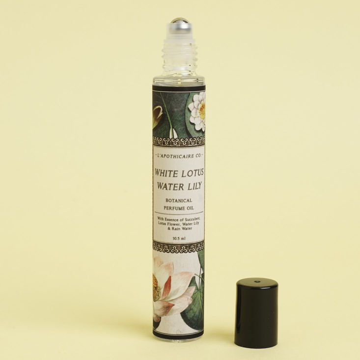 the lotus and white lily perfume by l'apothecaire co. with cap off