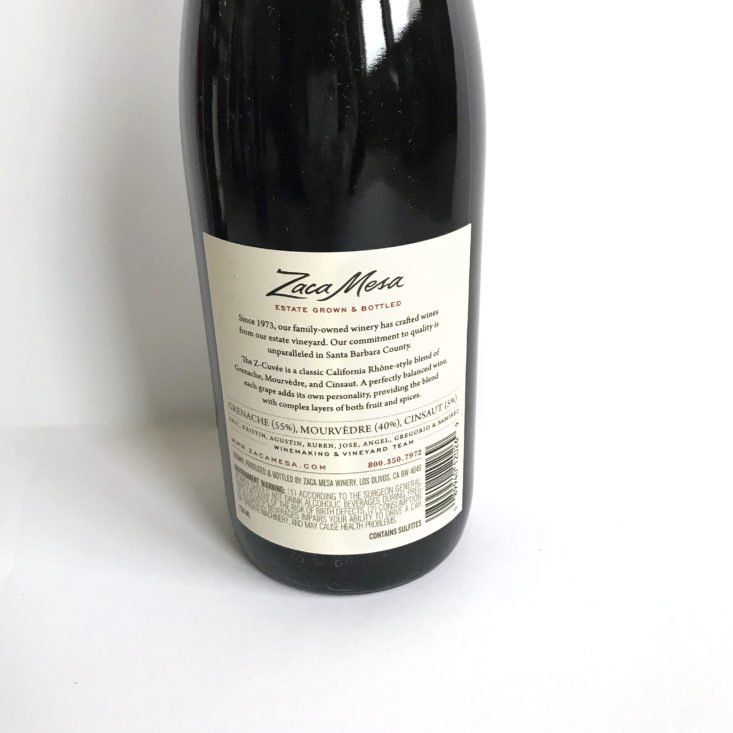 Splash Wine February 2018 - Zaca Mesa Cuvee Red Back