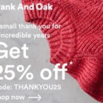 Frank and Oak Flash Sale – 25% Off Sitewide!