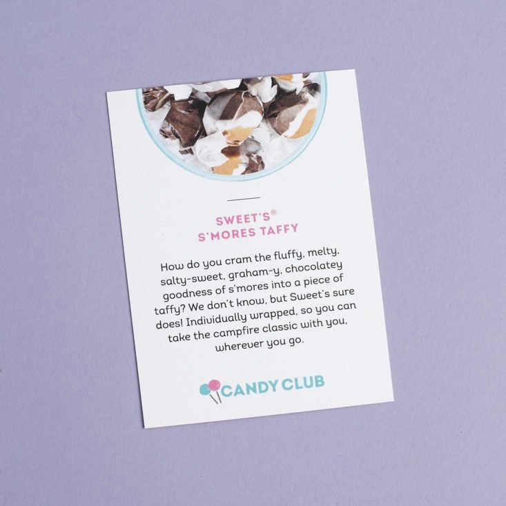 Sweet's S'mores taffy info card