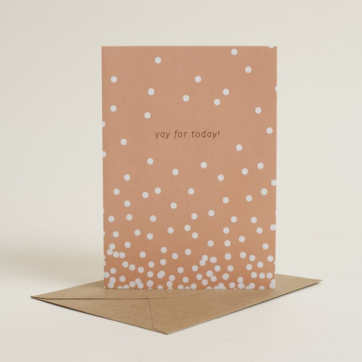 """peach polka dot greeting card that says """"yay for today!"""""""