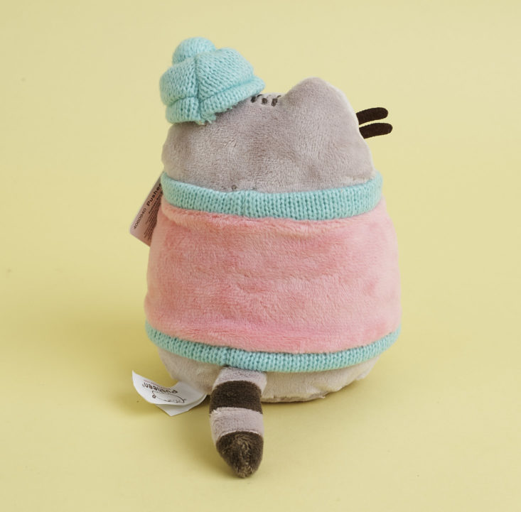 back of Pusheen Plush in winter outfit