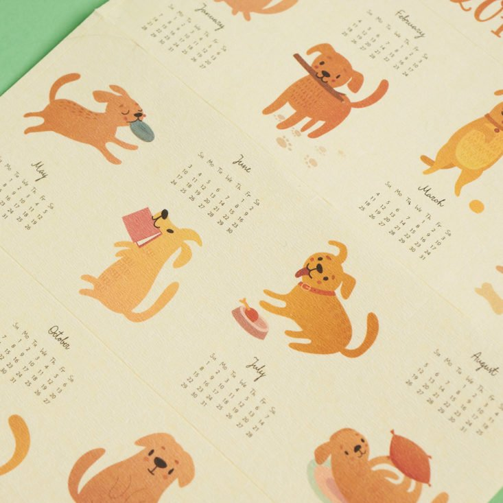 close up on calendar of dogs