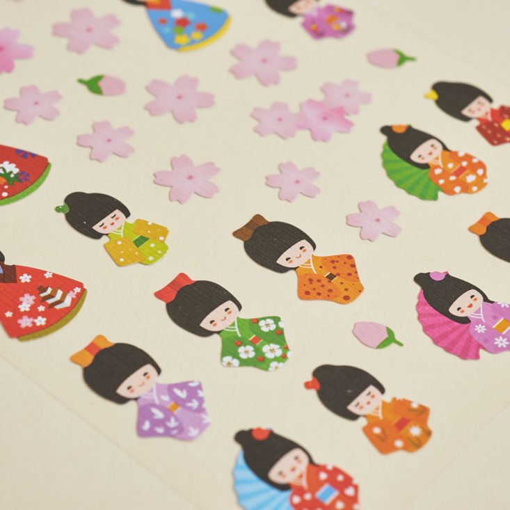 close up of Japanese kimono doll stickers