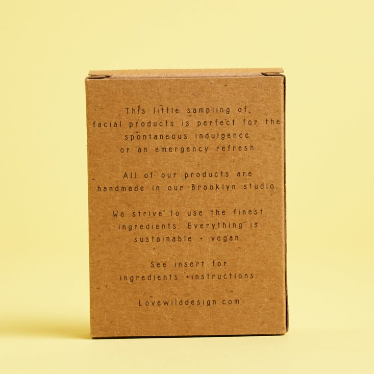 back of mini facial kit box