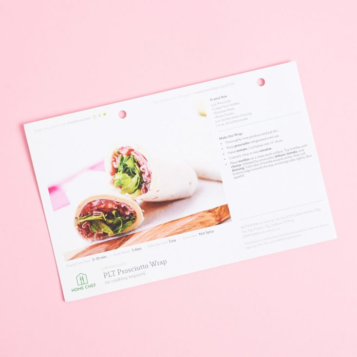 recipe card + instructions for PLT Prosciutto Wrap