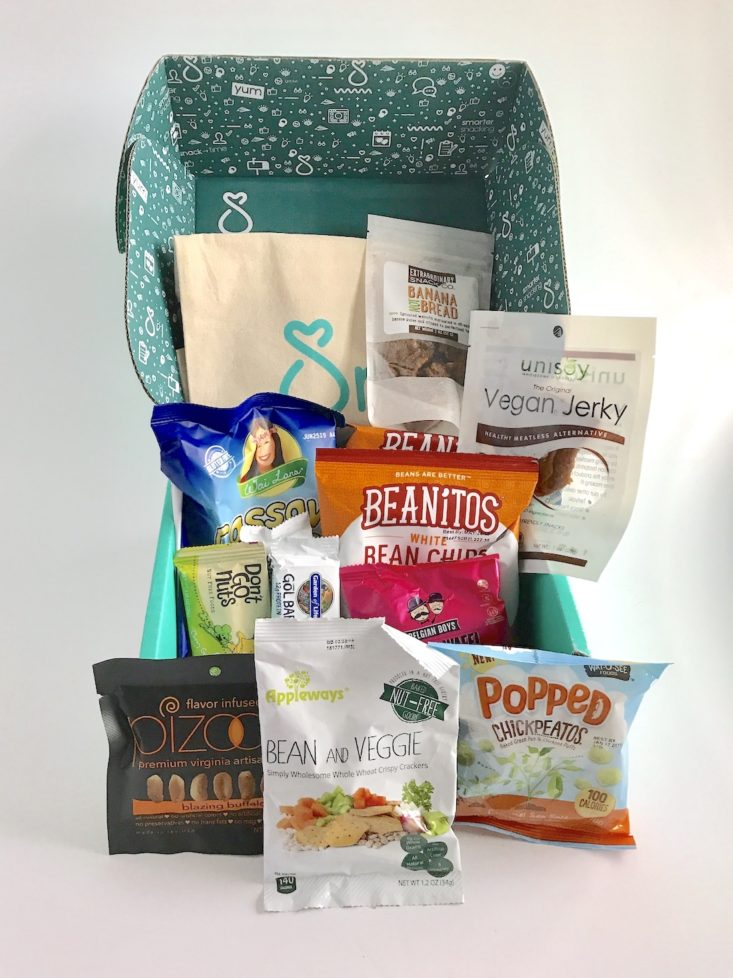 open SnackSack box with various snacks inside