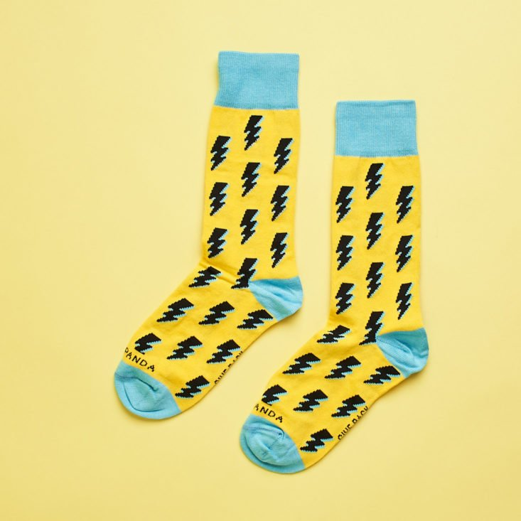other side of yellow lightning bolt socks