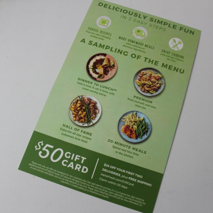Love with Food October 2018 - Hellofresh Gift Card Front