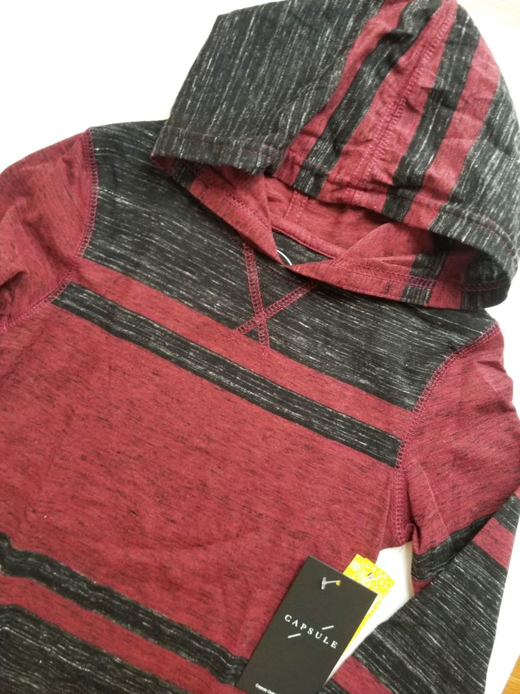 Stitch Fix Kids Boys November 2018 red and black hoodie close up