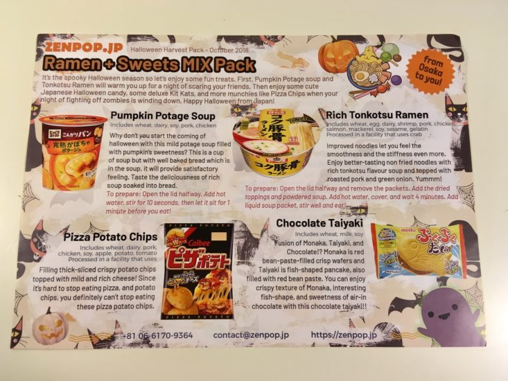 ZenPop Ramen + Sweets Mix Pack October 2018 Halloween Special Review - Information Card Front
