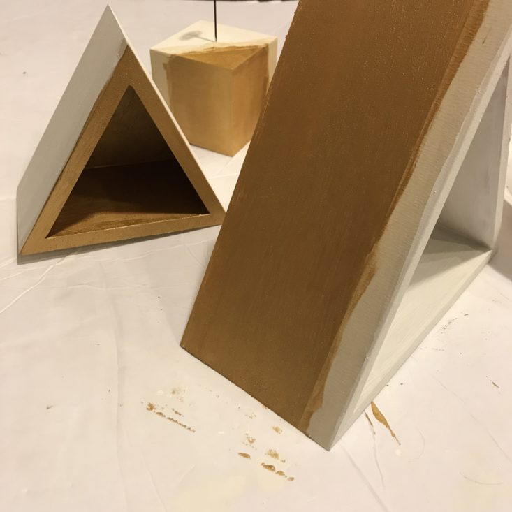 Adults & Crafts Triangle Shelves & Photo Block Kit November 2018 Review - Painting with Gold Paint 1 Front