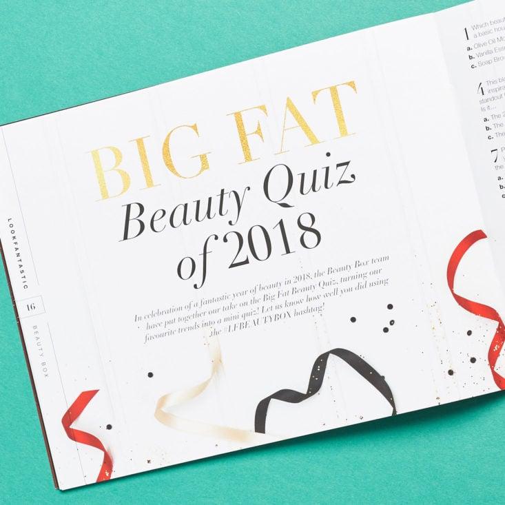 Look Fantastic December 2018 beauty quiz
