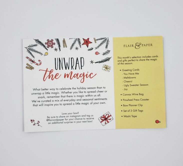Flair & Paper Box December 2018 - Information Card Back Top
