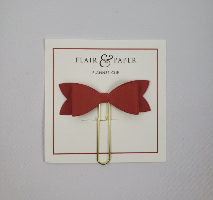 Flair & Paper Box December 2018 -Red Bow Planner Clip Front
