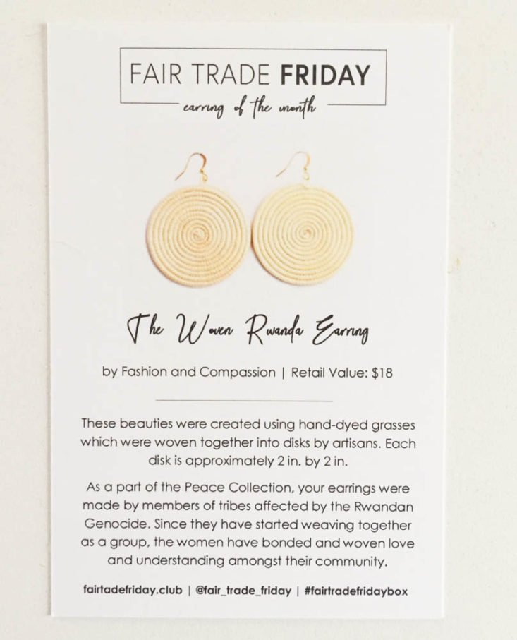 Fair Trade Friday Earring of the Month Club Subscription Review February 2019 - Information Card Front Top