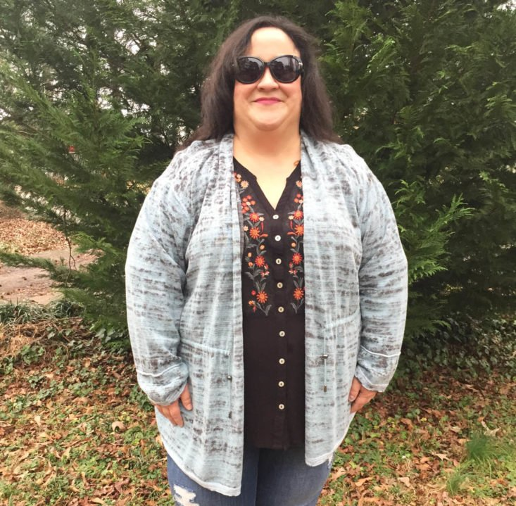 Gwynnie Bee Subscription Review February 2019 - Seafoam Live In Cardigan Onn Front
