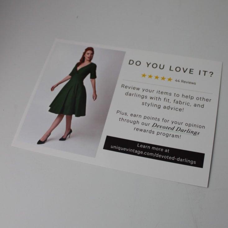 Unique Vintage Review February 2019 - Information Booklet Back Top