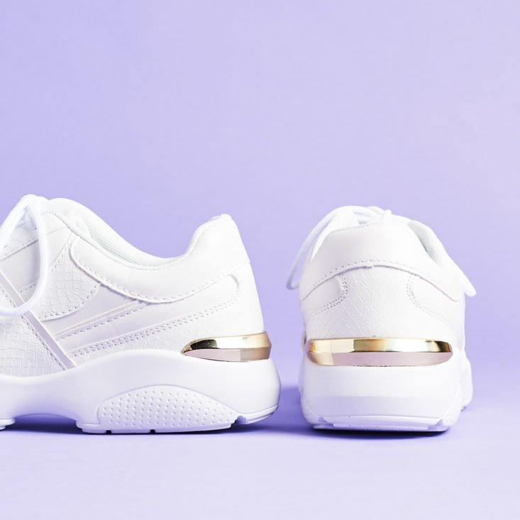 ShoeDazzle April 2019 gold details on chunky white sneakers