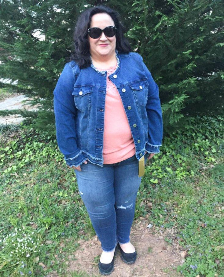 Stitch Fix Plus Size Clothing Subscription Box Review April 2019 - Abby Frayed Hem Jacket By Curve Appeal 1