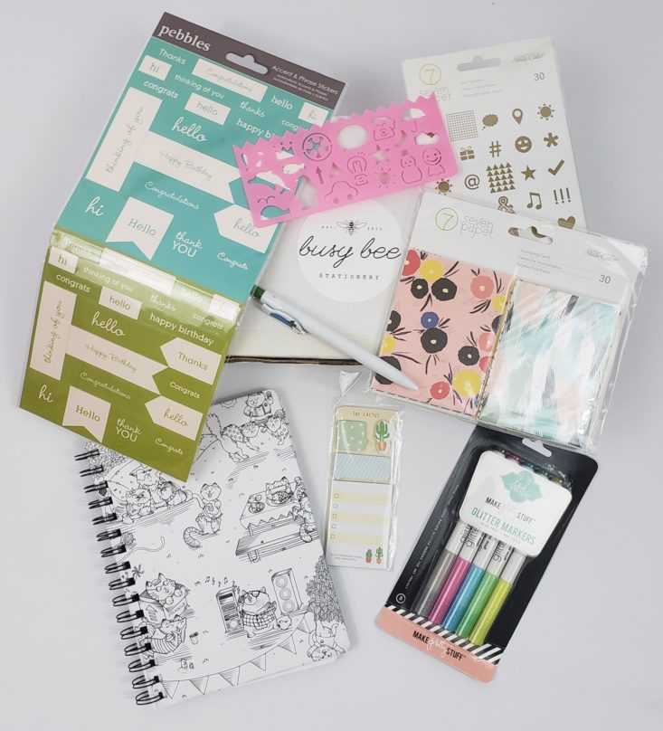 BUSY BEE STATIONERY Subscription Box May 2019 - All Items Shown Top