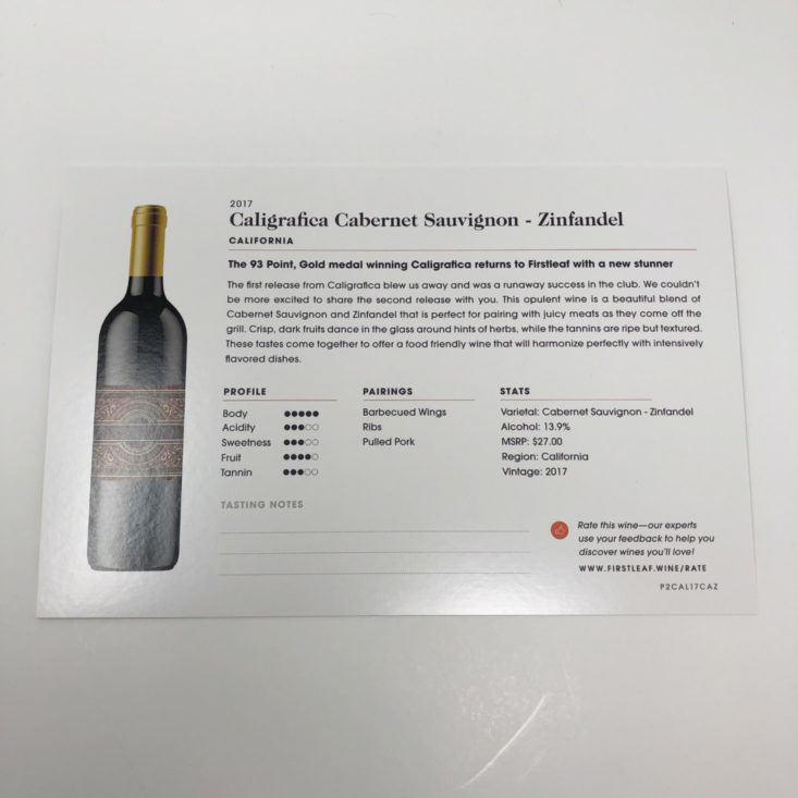Firstleaf Wine Subscription May 2019 - 2017 Caligrafica Cabernet Sauvignon - Zinfandel 2