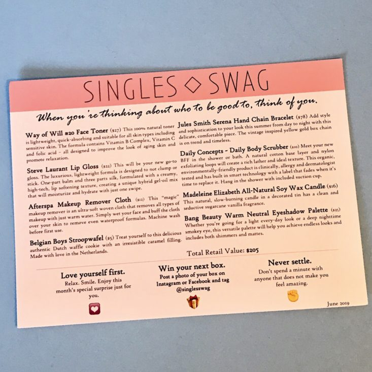 SinglesSwag June 2019 - Info Card