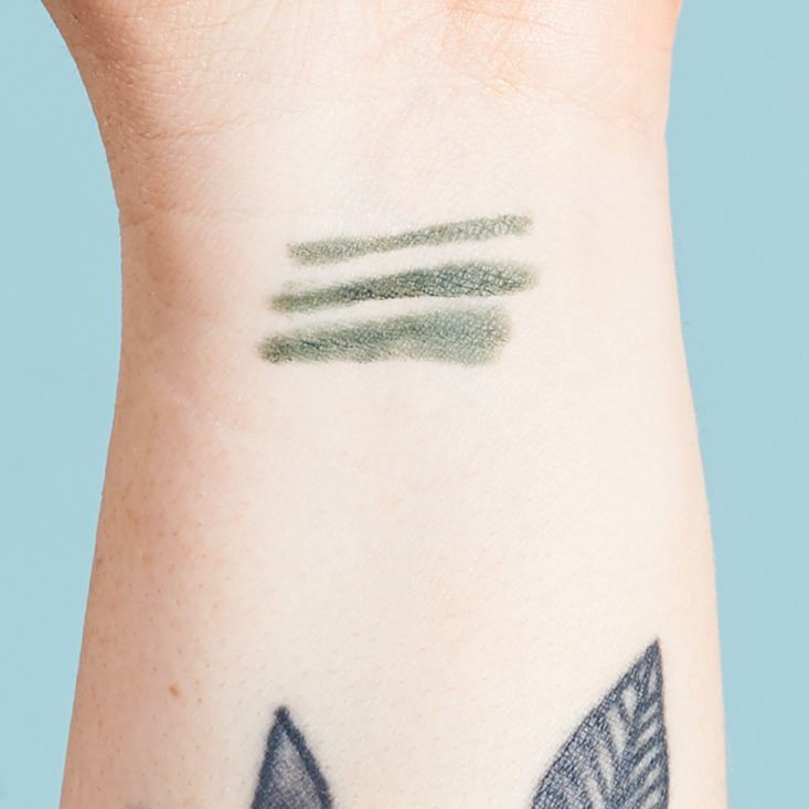 eyeliner swatches on megans arm
