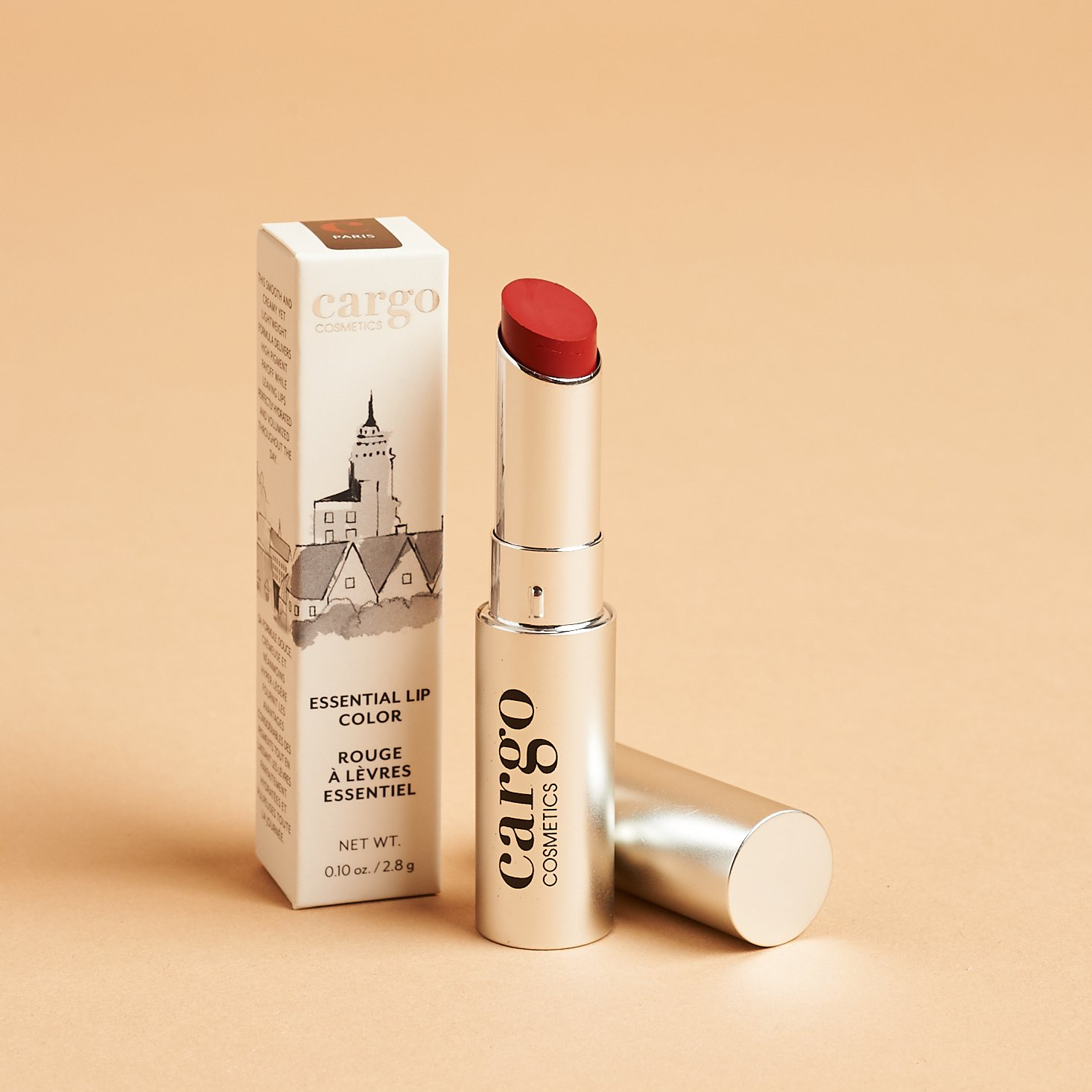 silver tube of red cargo lipstick