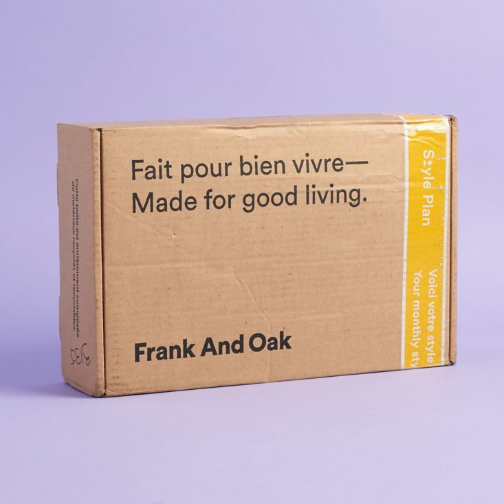box of products for my frank and oak review