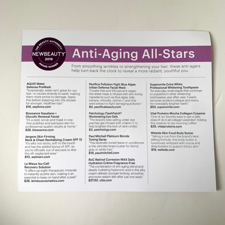 New Beauty Anti-Aging info