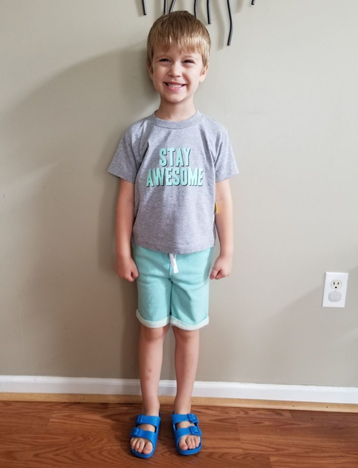 Stitch Fix Kids Boys Awesome tee & Mint Shorts modeled