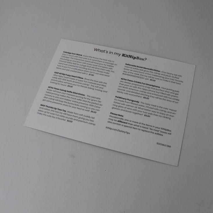 Kitnipbox Review September 2019 - Booklet Back Top