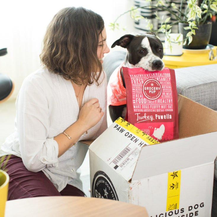 grocery pup dog and owner opening box