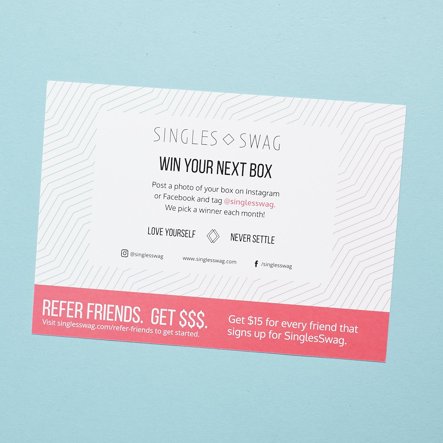 instructions on how to win your next box on other side of info card