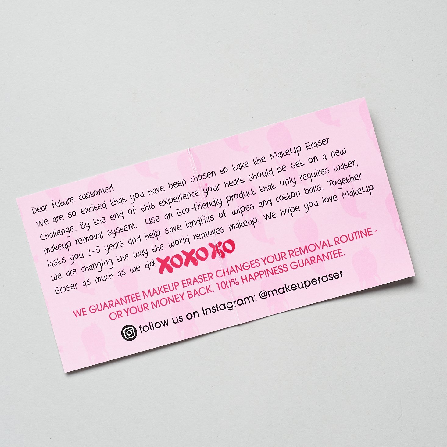note from makeup eraser explaining eco-friendliness and money back guarantee