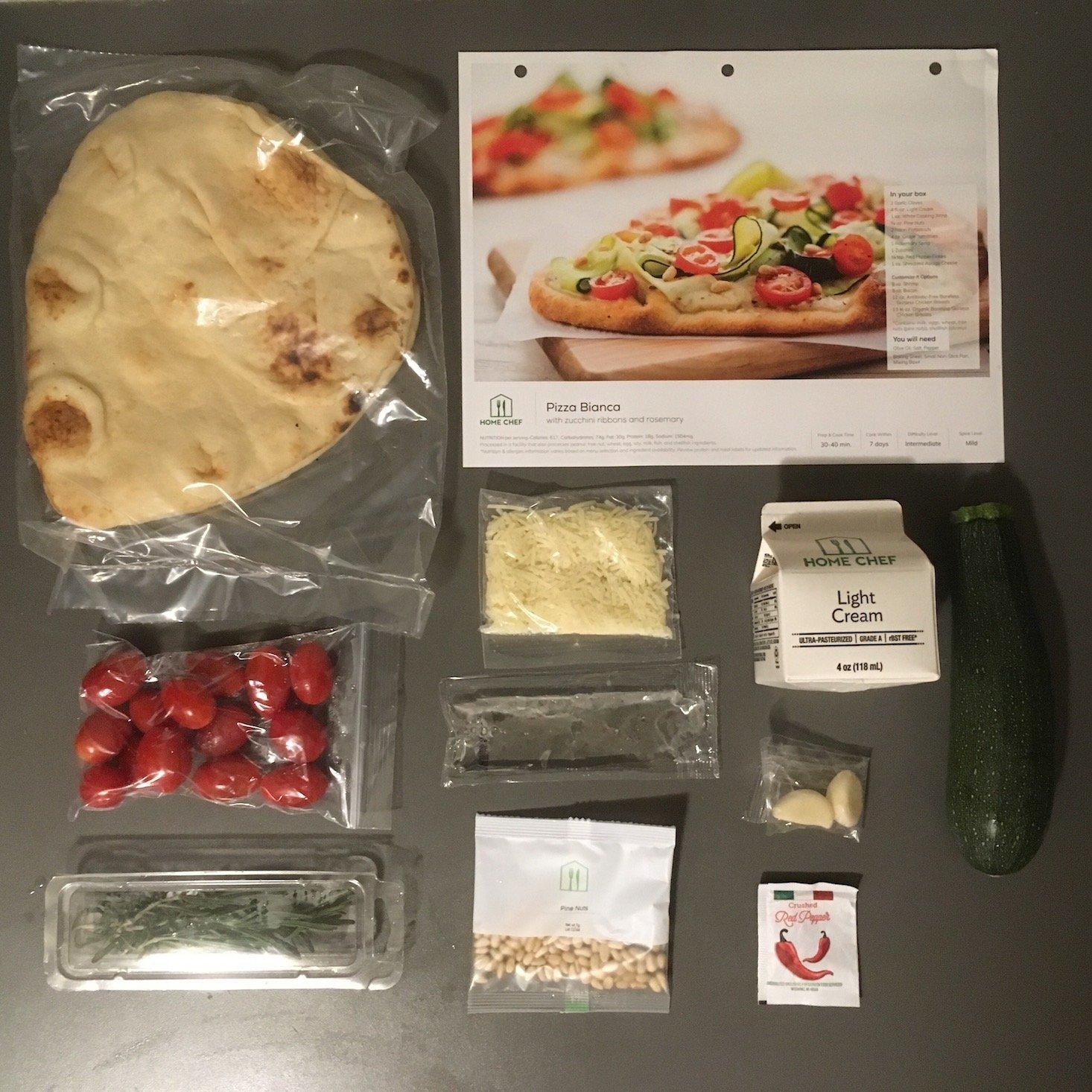 pizza bianca ingredients laydown