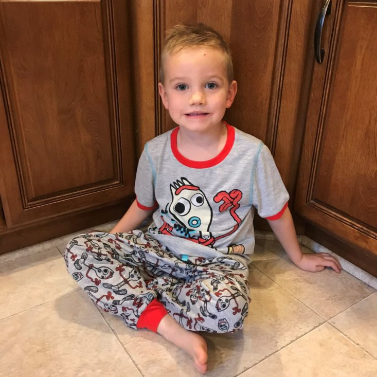 Disney Bedtime Adventure Box October 2019 charlie sitting in pajamas
