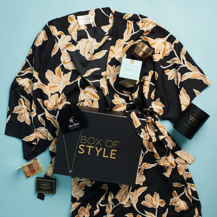 Rachel Zoe Box of Style floral robe and lifestyle items.